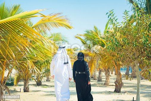 arabian couple walking among palm trees