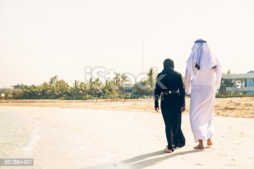 arabian couple walking on jumeirah beach in dubai