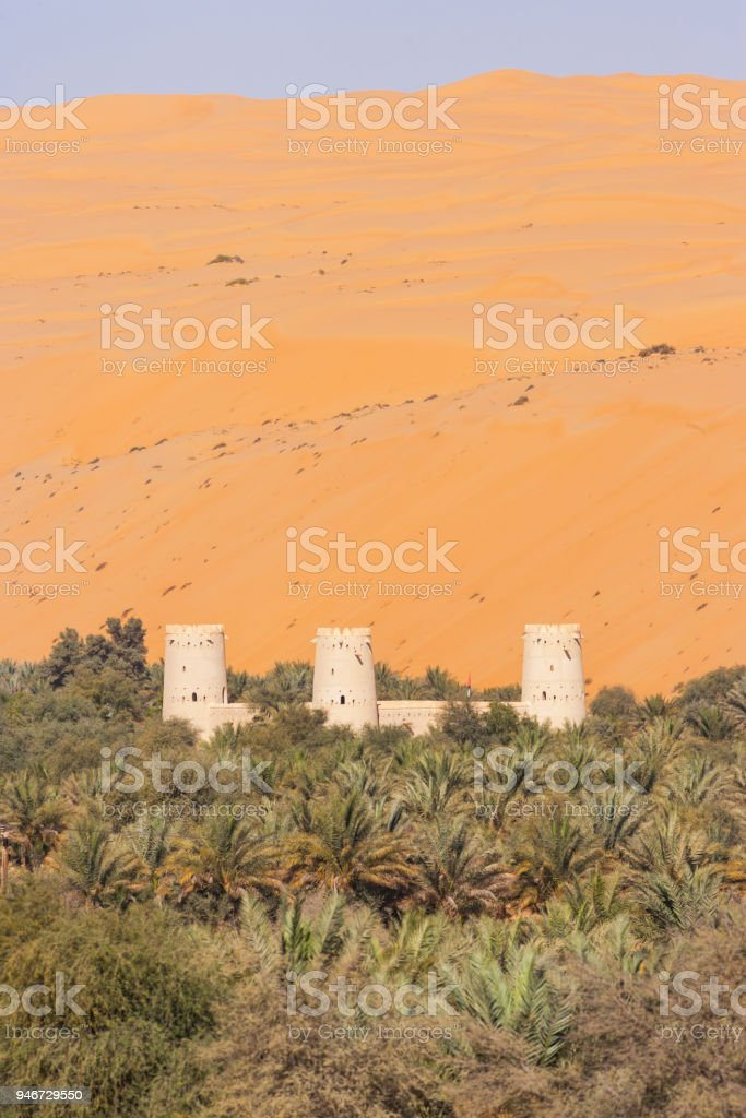 Arabian Fort in an Oasis stock photo