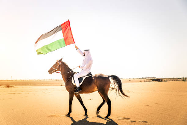 arabian man with horse in the desert - uae flag zdjęcia i obrazy z banku zdjęć