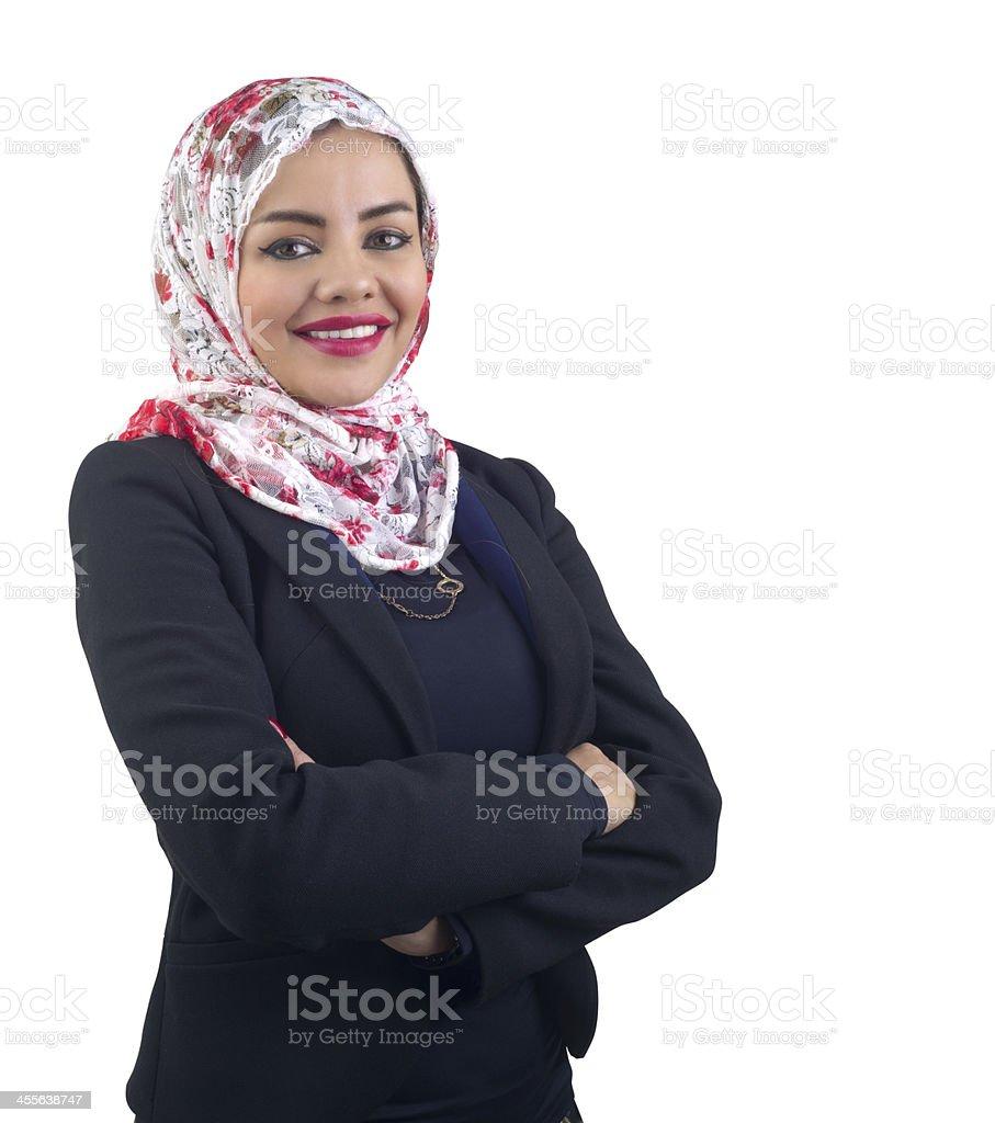 Arabian Muslim Business Woman isolated on white stock photo