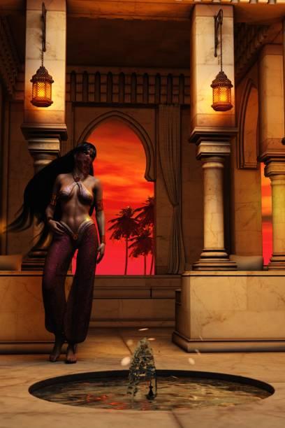 3D Arabian nights harem girl in marble palace at dusk stock photo