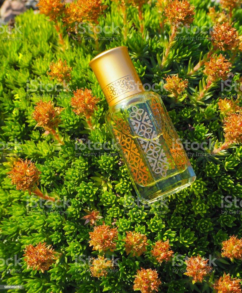 Arabian oud attar perfume or agarwood oil fragrances in mini bottle. stock photo