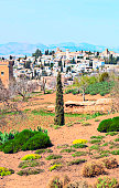 Nasrid monument of the Alhambra in a sunny day in the spanish city of Granada