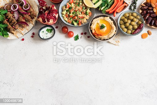 Arabic and Middle Eastern food, dinner table. Meat kebab, hummus, tabbouleh salad, traditional sauces, olives, pita,  dates fruits, nuts, pomegranate. Set of Arabian meal, top view, banner.