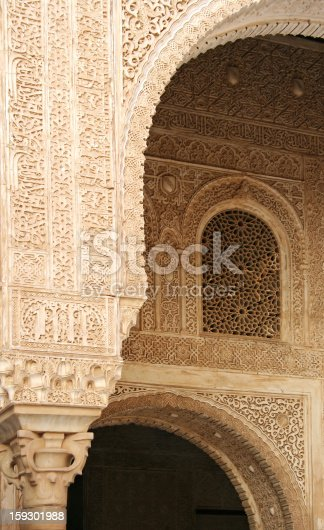 121178604 istock photo Arabic Arc and Window in the Alhambra Palace 159301988
