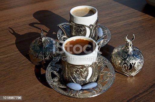 Arabic black coffee and Turkish local coffee Menengic, made of dried and mint Menengic berries, in Mardin, southeast Turkey