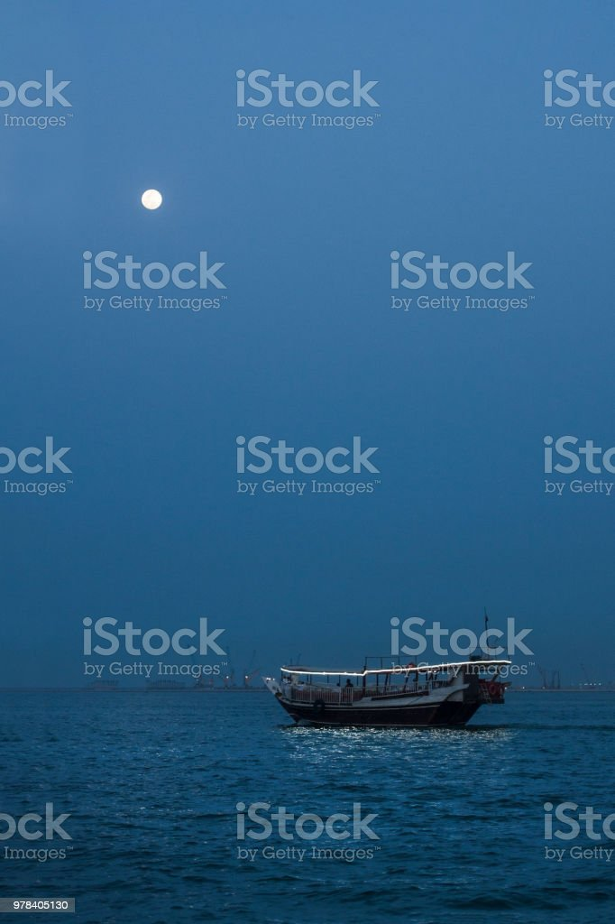 Arabic boat in twilights stock photo