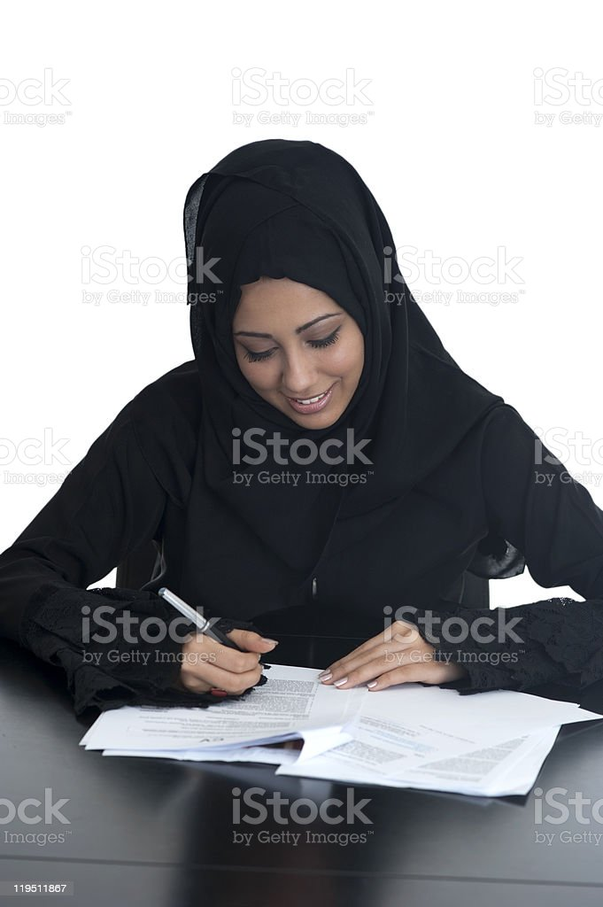 Arabic Business Woman with Documents stock photo