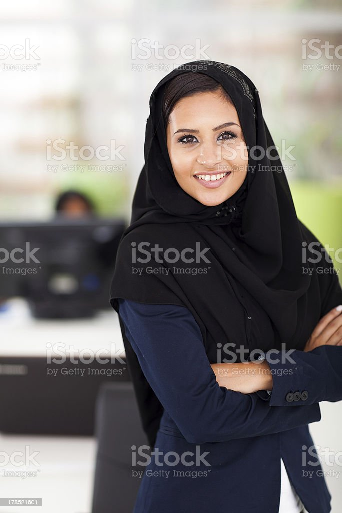 Arabic businesswoman in office royalty-free stock photo