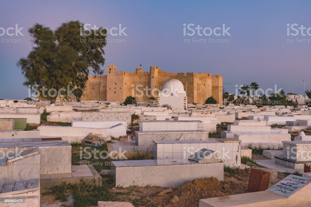 Arabic cemetery next to Ribat in Monastir, Tunisia stock photo