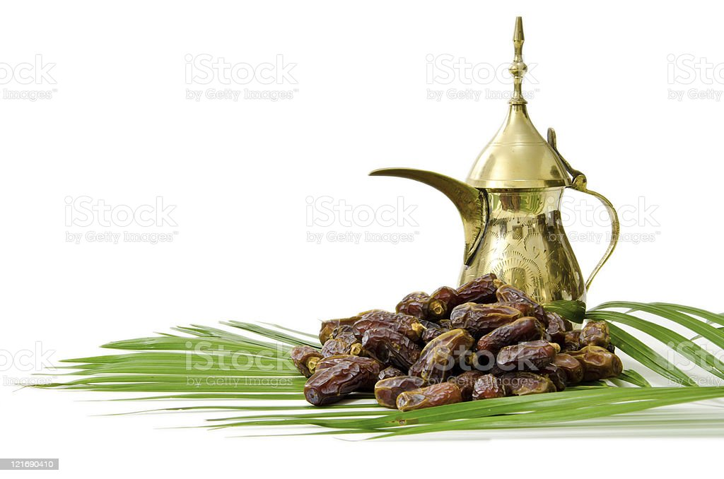 Arabic Coffee with Dates Fruit royalty-free stock photo