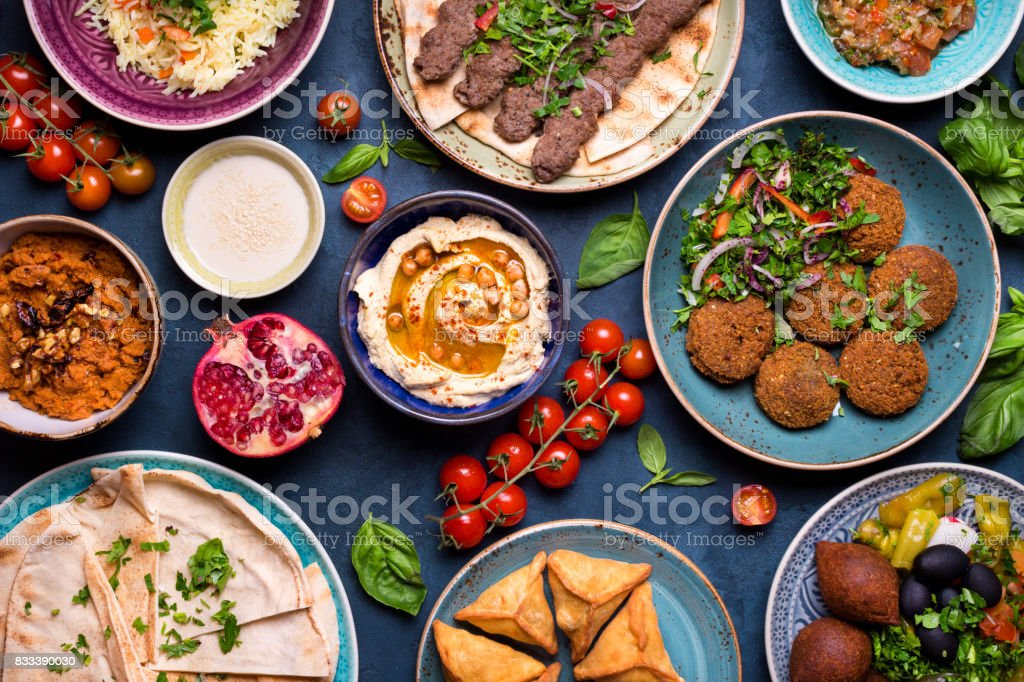 Arabic dishes and meze stock photo