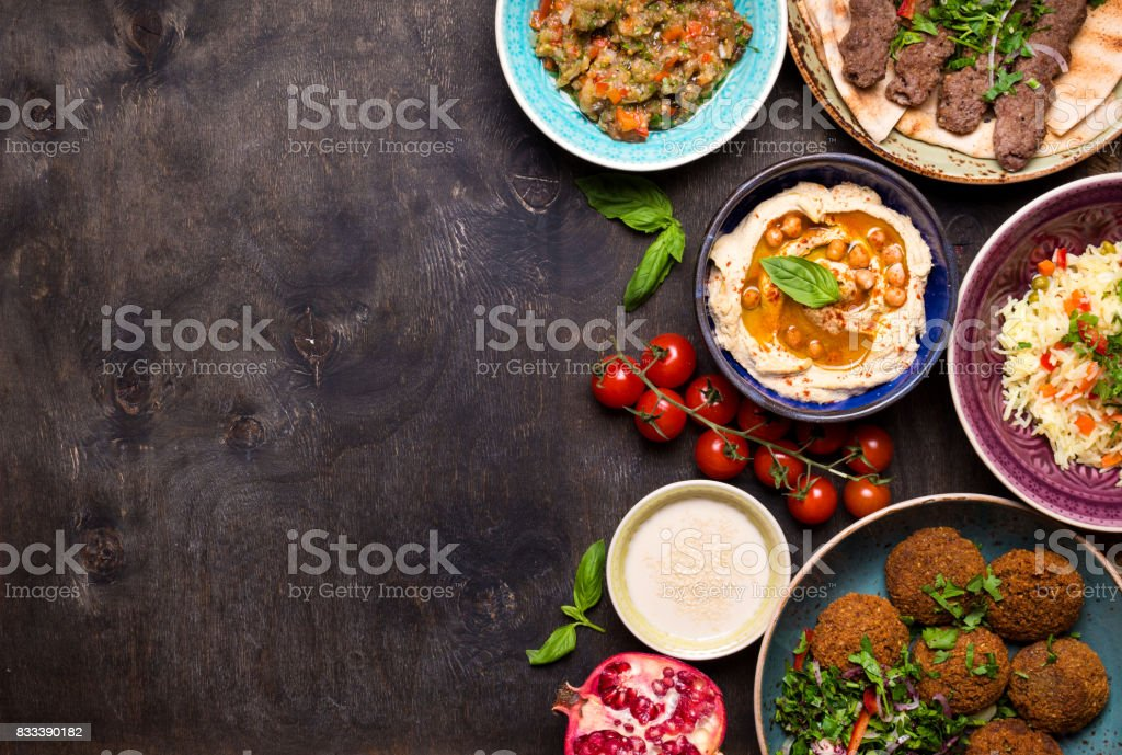 Arabic dishes background stock photo