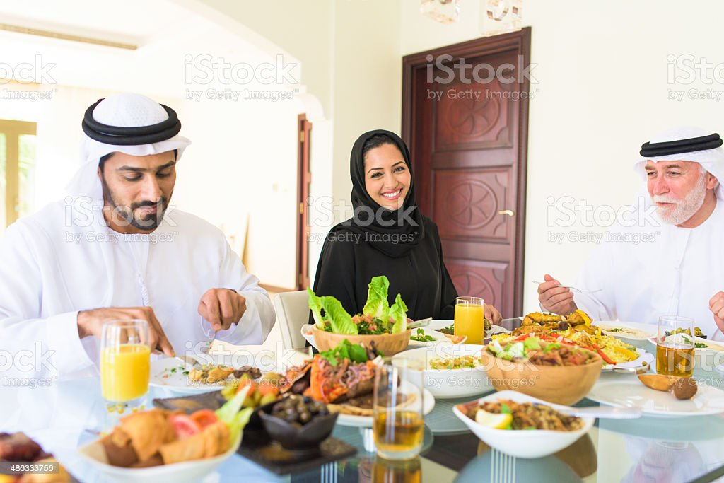 Arabic family Enjoying lunch stock photo