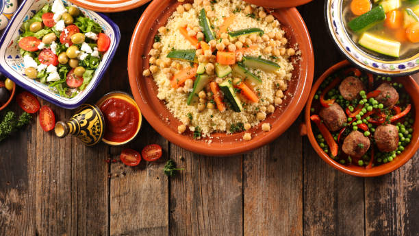 arabic food assortment stock photo