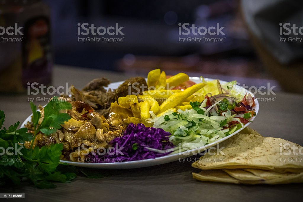 Arabic Food with Chips stock photo