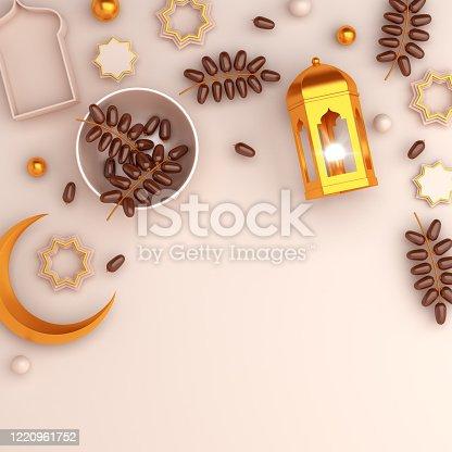 istock Arabic geometric star ornament, dates fruit, lantern, crescent on white background. Design creative concept of islamic celebration day ramadan kareem or eid al fitr adha, copy space, 3D illustration. 1220961752