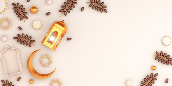 1130047135 istock photo Arabic geometric star ornament, dates fruit, lantern, crescent on white background. Design creative concept of islamic celebration day ramadan kareem or eid al fitr adha, copy space, 3D illustration. 1220961795