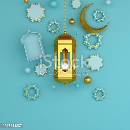 1142530010 istock photo Arabic geometric star ornament, lantern, crescent on blue pastel background. Design concept of islamic celebration day ramadan kareem or eid al fitr adha, copy space text area, 3D illustration. 1217941207