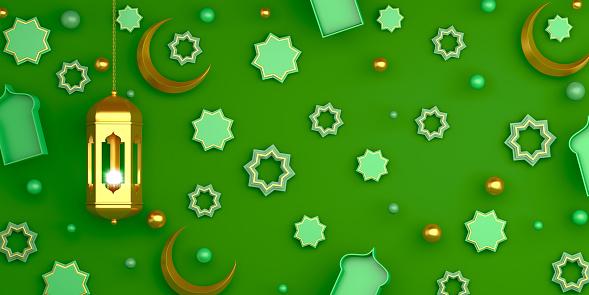 1130047135 istock photo Arabic geometric star ornament, lantern, crescent on green background. Design concept of islamic celebration day ramadan kareem or eid al fitr adha, copy space text area, 3D illustration. 1218559312