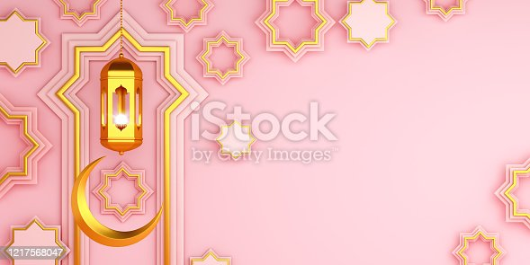 istock Arabic geometric star ornament, lantern, crescent on pink background. Design creative concept of islamic celebration day ramadan kareem or eid al fitr adha, copy space text area, 3D illustration. 1217568047