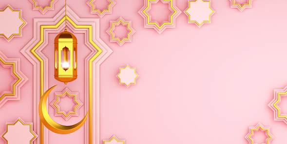 istock Arabic geometric star ornament, lantern, crescent on pink background. Design creative concept of islamic celebration day ramadan kareem or eid al fitr adha, copy space text area, 3D illustration. 1217568047