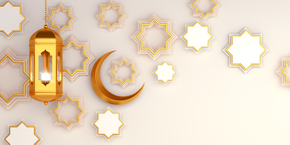1130047135 istock photo Arabic geometric star ornament, lantern, crescent on white background. Design creative concept of islamic celebration day ramadan kareem or eid al fitr adha, copy space text area, 3D illustration. 1215089696