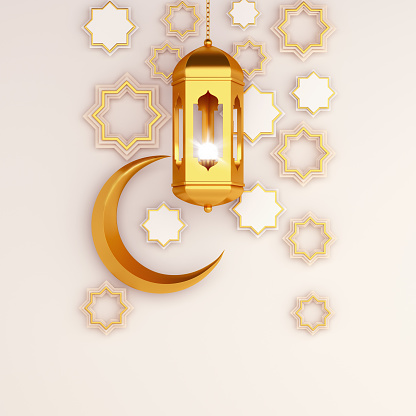 istock Arabic geometric star ornament, lantern, crescent on white background. Design creative concept of islamic celebration day ramadan kareem or eid al fitr adha, copy space text area, 3D illustration. 1215089703