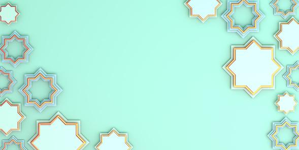 1142531551 istock photo Arabic geometric star ornament on blue pastel background. Design creative concept of islamic celebration day ramadan kareem or eid al fitr adha, copy space text area, 3D rendering illustration. 1212866508