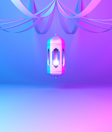1142326460 istock photo Arabic hanging lantern with ribbon on blue violet pink gradient background. 1144048502