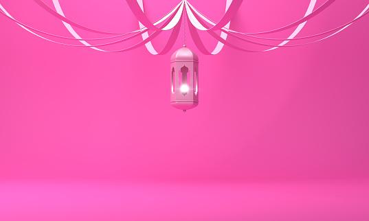 1142326460 istock photo Arabic hanging lantern with ribbon on pink pastel background. 1142530917