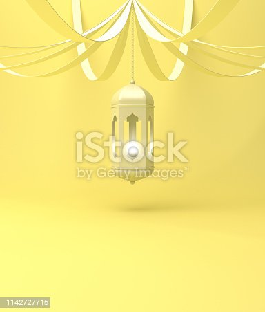 istock Arabic hanging lantern with ribbon on yellow pastel background. 1142727715