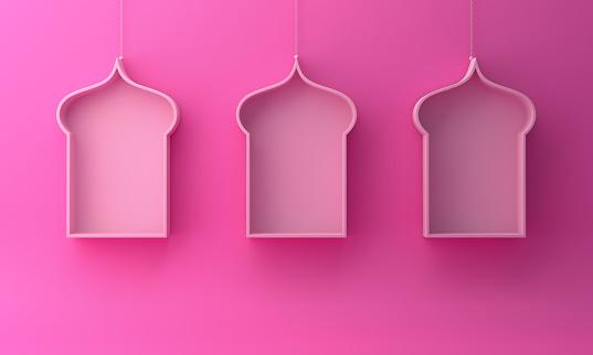 1142531551 istock photo Arabic hanging window shelf on pink background. 1142531537