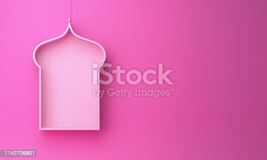 1142531551istockphoto Arabic hanging window shelf on pink background. 1142726901