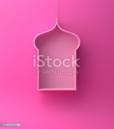 1142727715istockphoto Arabic hanging window shelf on pink background. 1142727790