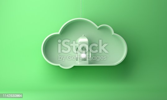1142531551istockphoto Arabic lantern and on the hanging cloud with green pastel background copy space text 1142530964