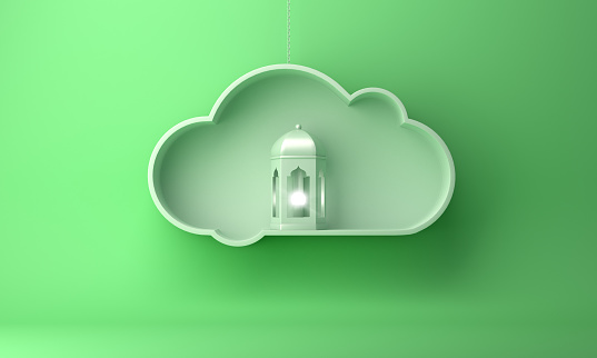 1142531551 istock photo Arabic lantern and on the hanging cloud with green pastel background copy space text 1142530964