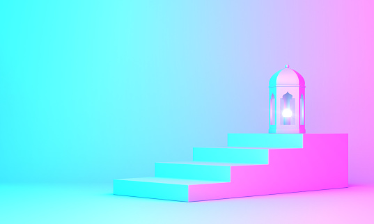 istock Arabic lantern and steps on blue pink violet gradient background 1142113535