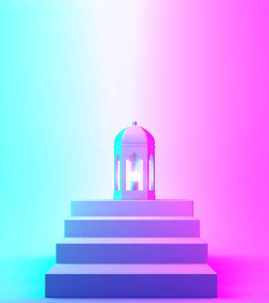 1142326460 istock photo Arabic lantern and steps on blue pink violet gradient background. 1142326460