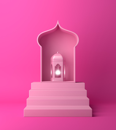istock Arabic lantern and steps on pink pastel background. 1142530031