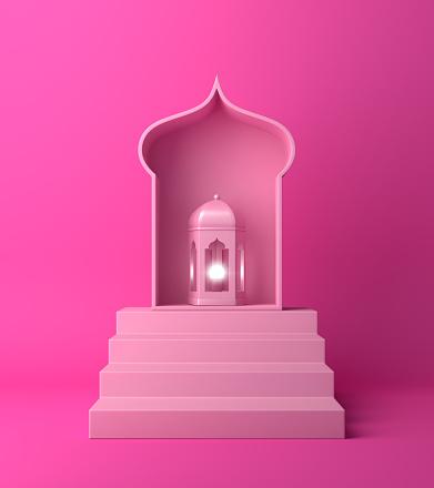 1142531551 istock photo Arabic lantern and steps on pink pastel background. 1142530031