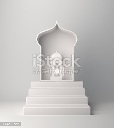 1140668282istockphoto Arabic lantern and steps on white background. 1142327229