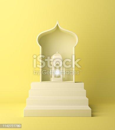 1142530010 istock photo Arabic lantern and steps on yellow pastel background. 1142727780