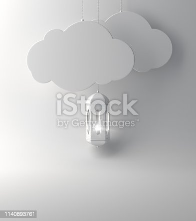 1142326460istockphoto Arabic lantern and  the hanging cloud on white background copy space text. 1140893761