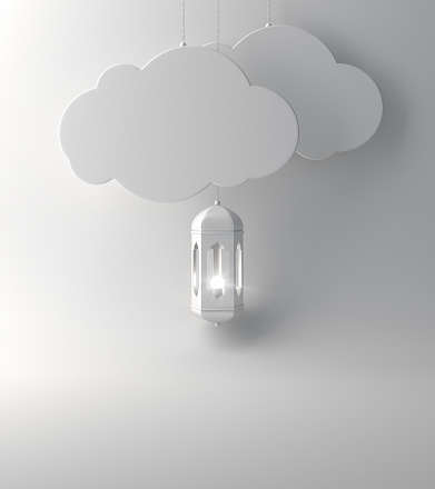 1142326460 istock photo Arabic lantern and  the hanging cloud on white background copy space text. 1140893761