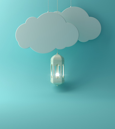 1142326460 istock photo Arabic lantern and  the hanging cloud with blue pastel background copy space text. 1140891767