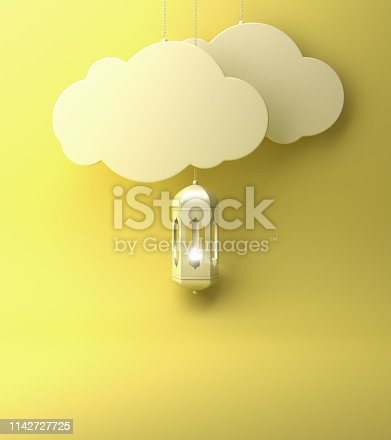 1142727715istockphoto Arabic lantern and  the hanging cloud with yellow pastel background copy space text. 1142727725