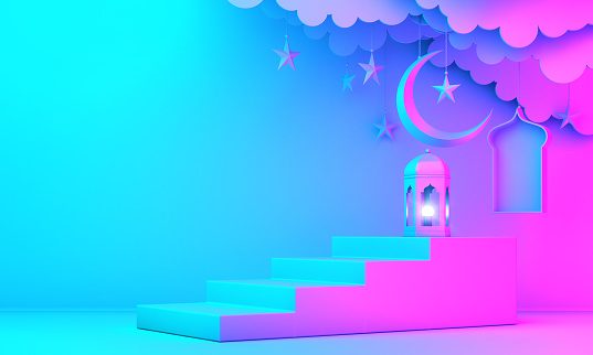 1142531551 istock photo Arabic lantern, cloud, crescent moon star, steps and window on green pastel background. 1146837401