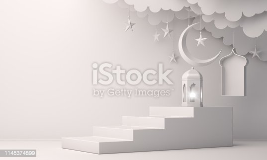 1142530010 istock photo Arabic lantern, cloud, crescent moon star, steps and window on white background. 1145374899